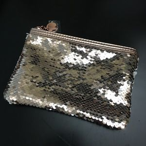 Sequined Rose Gold Make-up Bag Small Clutch Purse